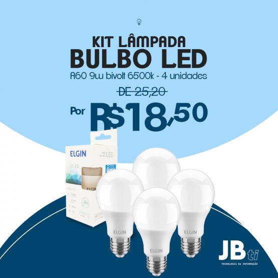KIT LAMPADA BULBO LED A60 9W BIVOLT 6500K 4 UNIDADES