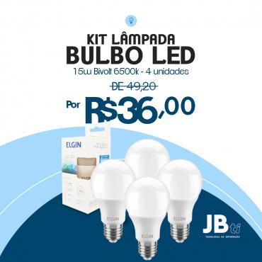 KIT LAMPADA BULBO LED A65 15W BIVOLT 6500K 4 UNIDADES