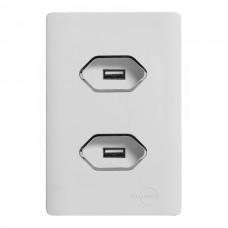 2 TOMADAS USB - 2A COM PLACA 4X2 BRANCA - NOVARA